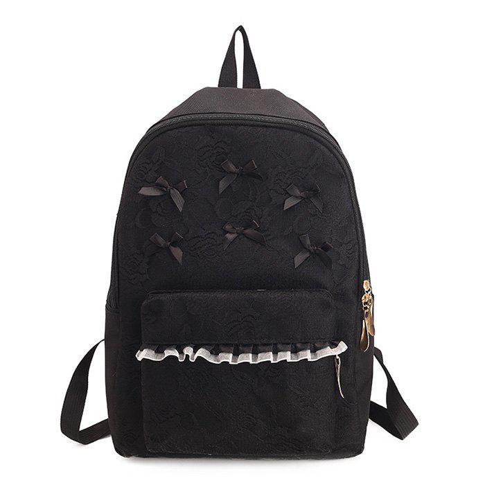 Bow Ribbon Lace Backpack - BLACK