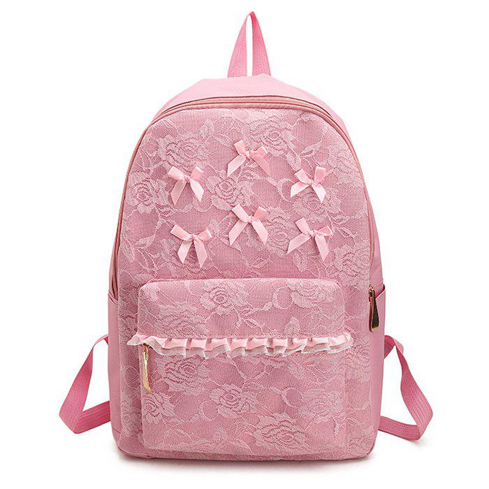 Bow Ribbon Lace Backpack - PINK