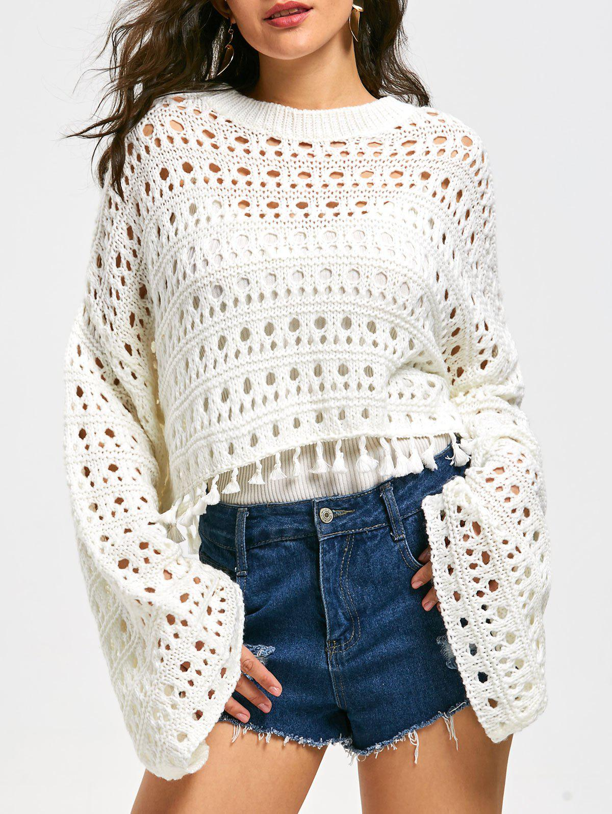 Flared Sleeve Drop Shoulder Crochet Crop Sweater - WHITE XL