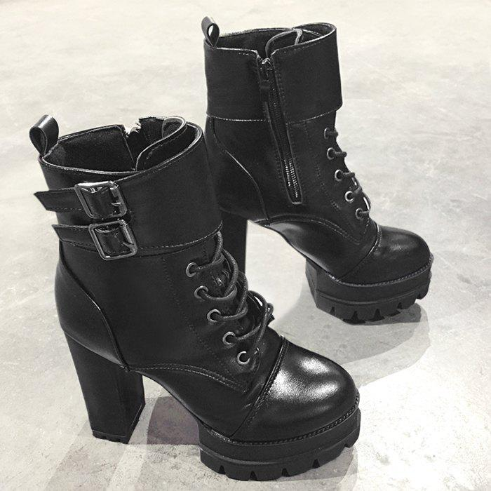 High Heel Buckle Strap Platform Ankle Boots size 32 43 autumn winter women ankle boots high heel buckle boot platform round toe sexy boots thick heels flock shoes g254