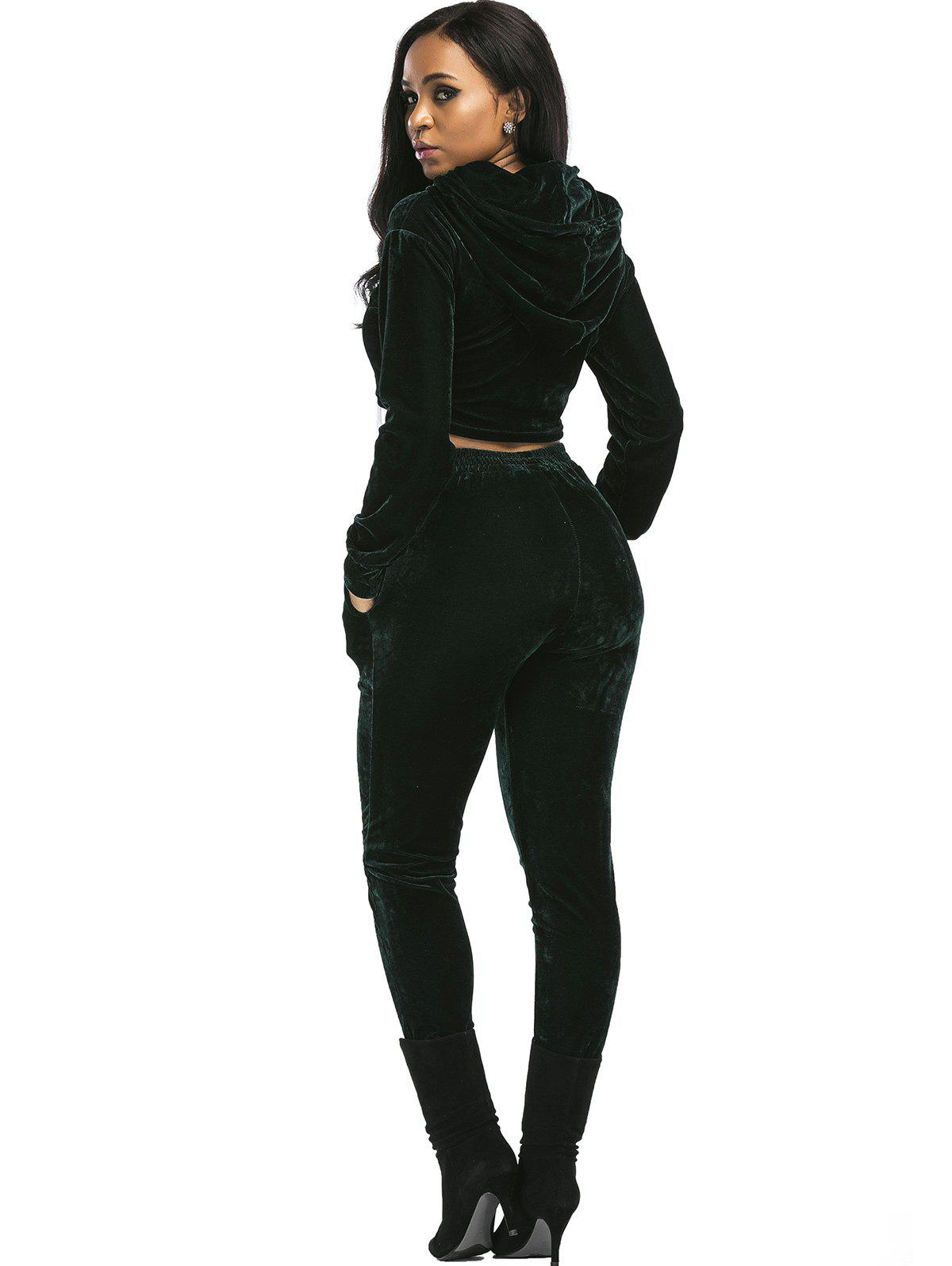 Velvet Cropped Hoodie and Pants Suit - BLACKISH GREEN S