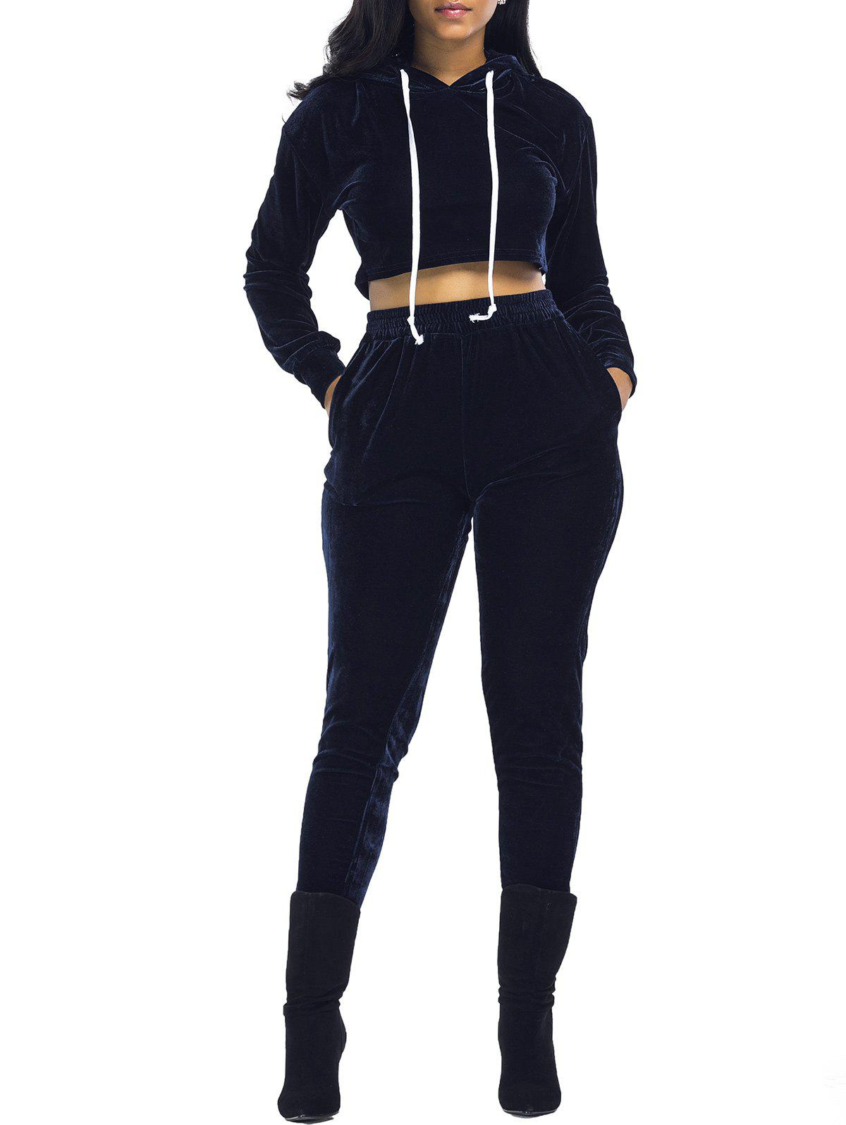 Velvet Cropped Hoodie and Pants Suit - PURPLISH BLUE S