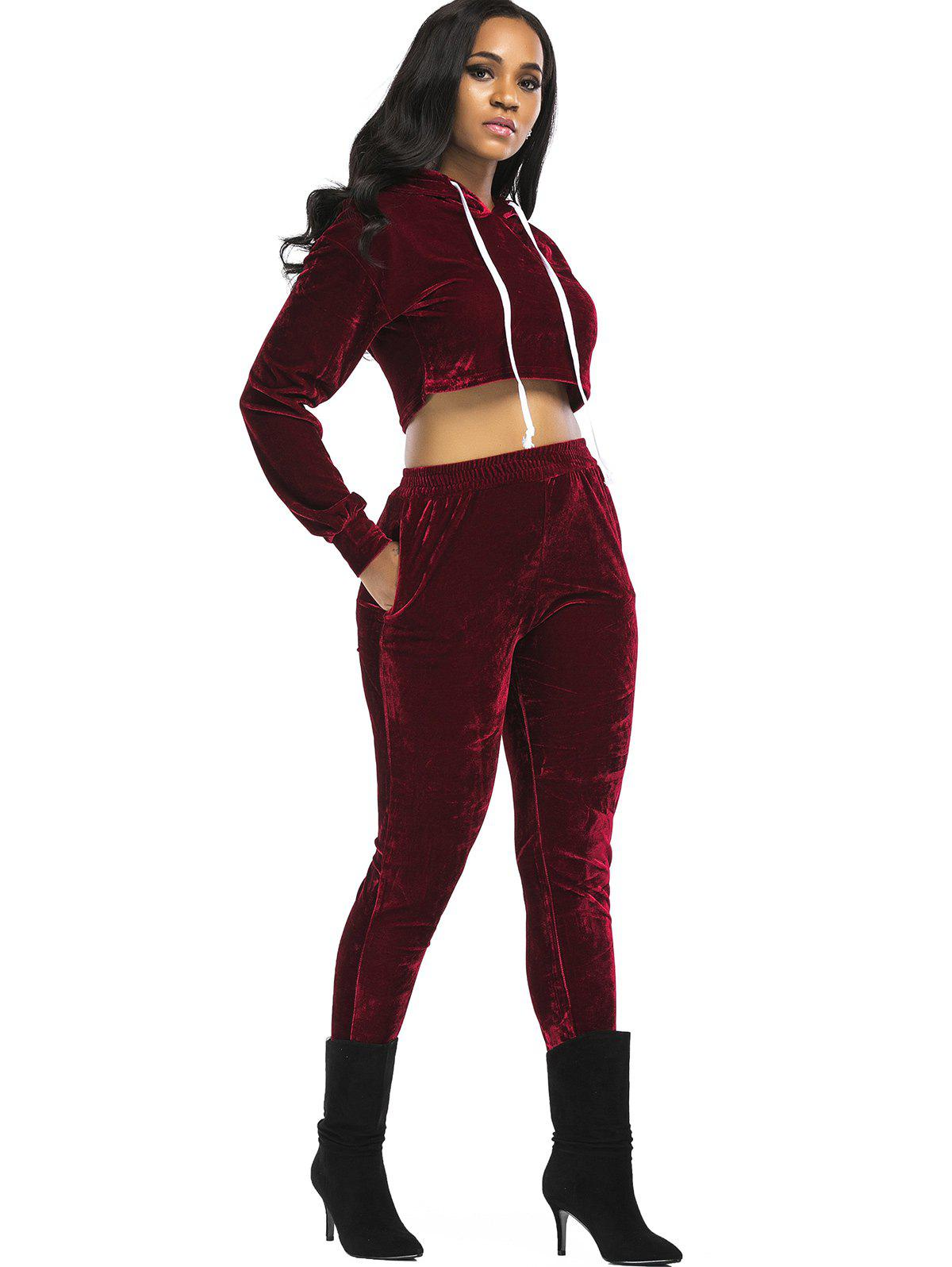 Velvet Cropped Hoodie and Pants Suit - WINE RED M