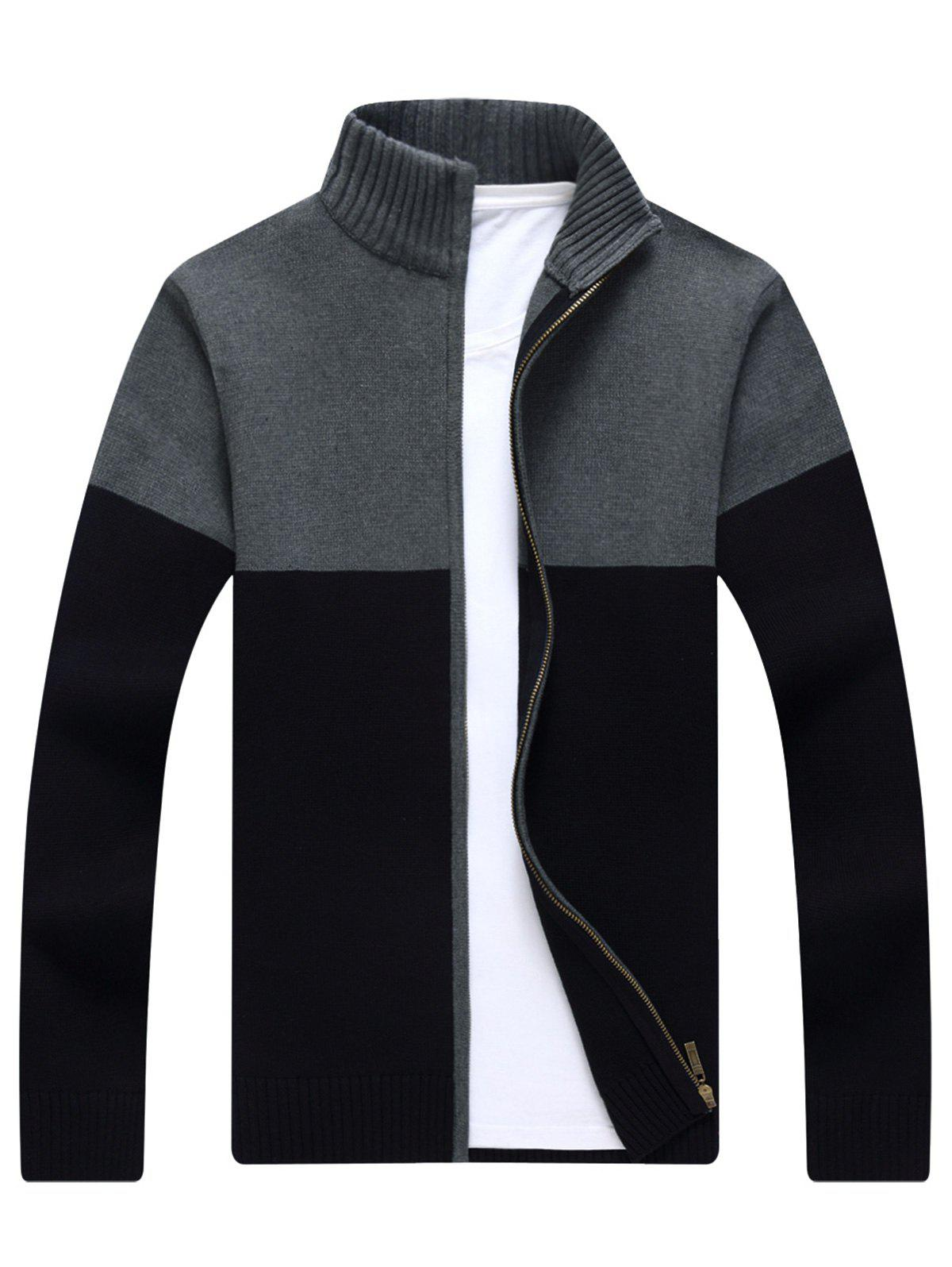 Ribbed Color Block Zip-front Cardigan - BLACK XL