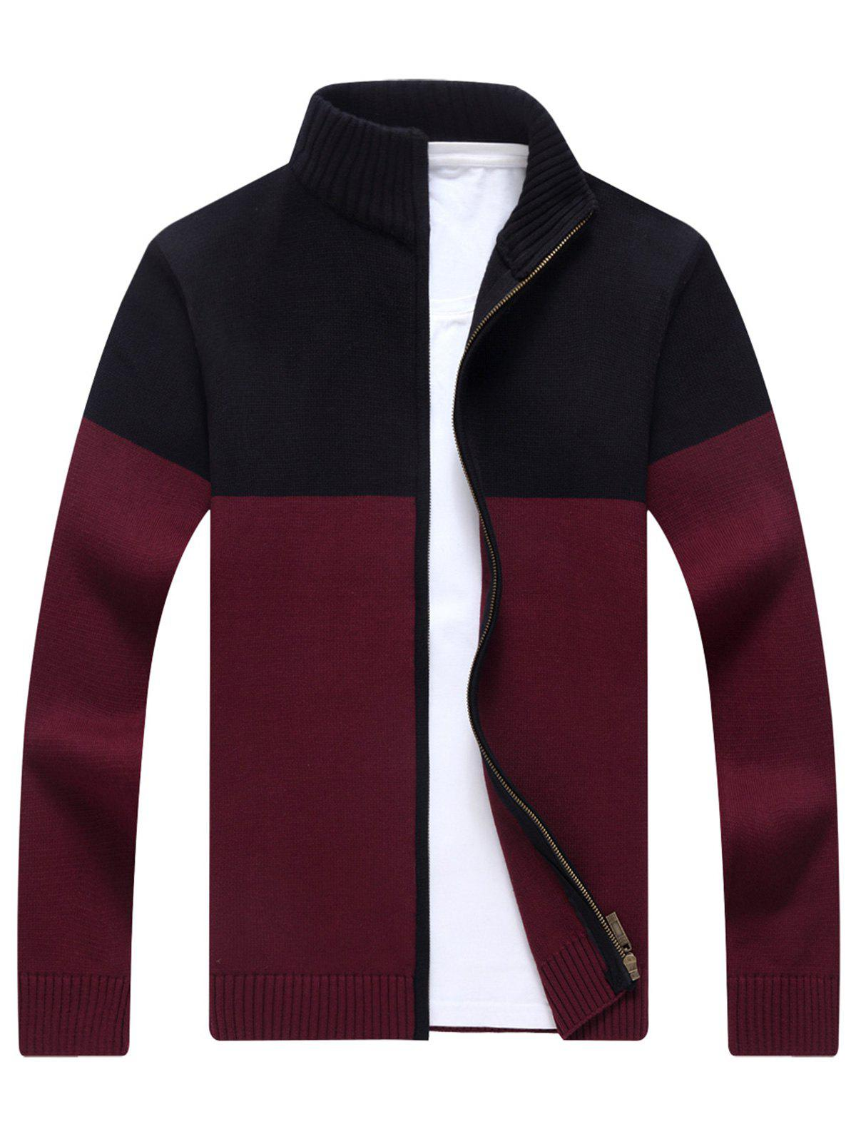 Ribbed Color Block Zip-front Cardigan - WINE RED 2XL