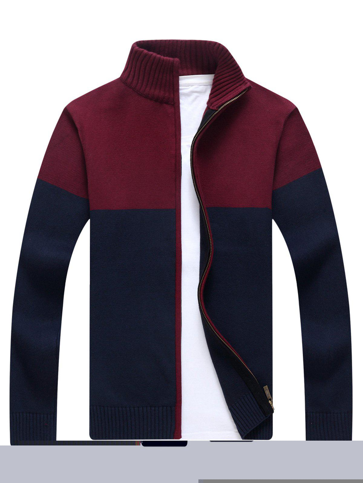 Ribbed Color Block Zip-front Cardigan - BLUE L