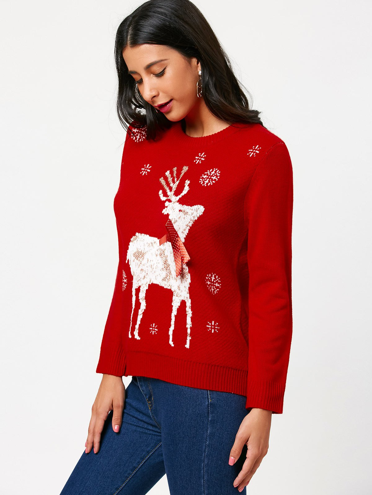 Christmas Elk Tied A Bow Tie Pattern Sweater - RED ONE SIZE