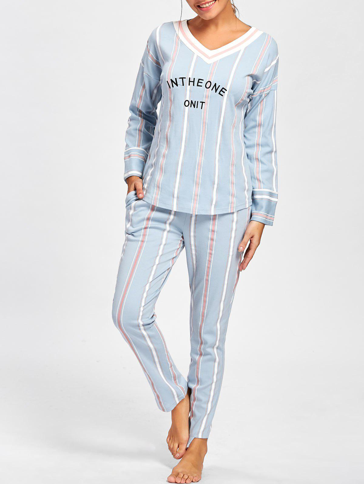 V Neck Striped Pajamas Set - CLOUDY M