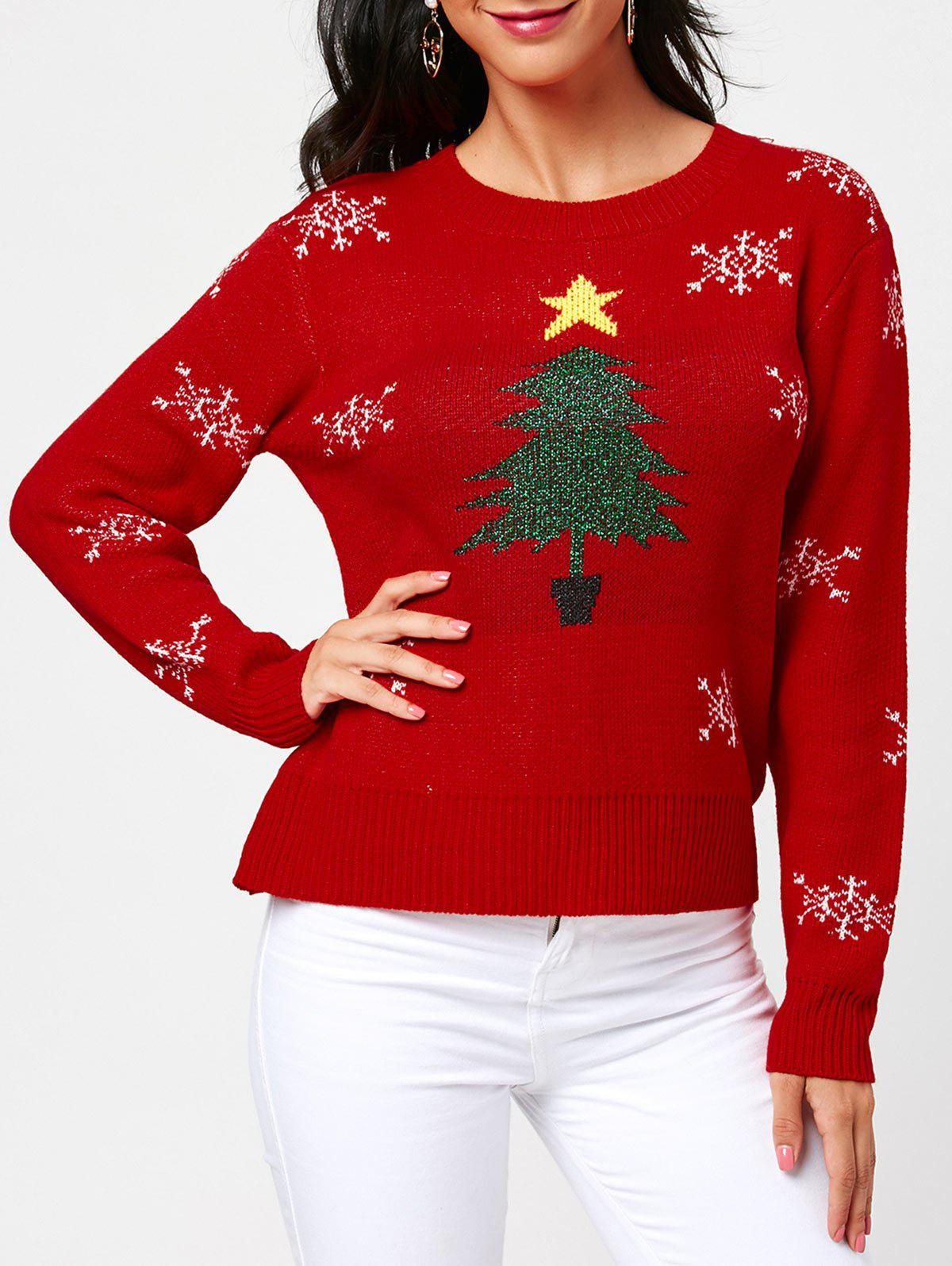 Tree and Snowflake Pattern Christmas Pullover Sweater - RED ONE SIZE
