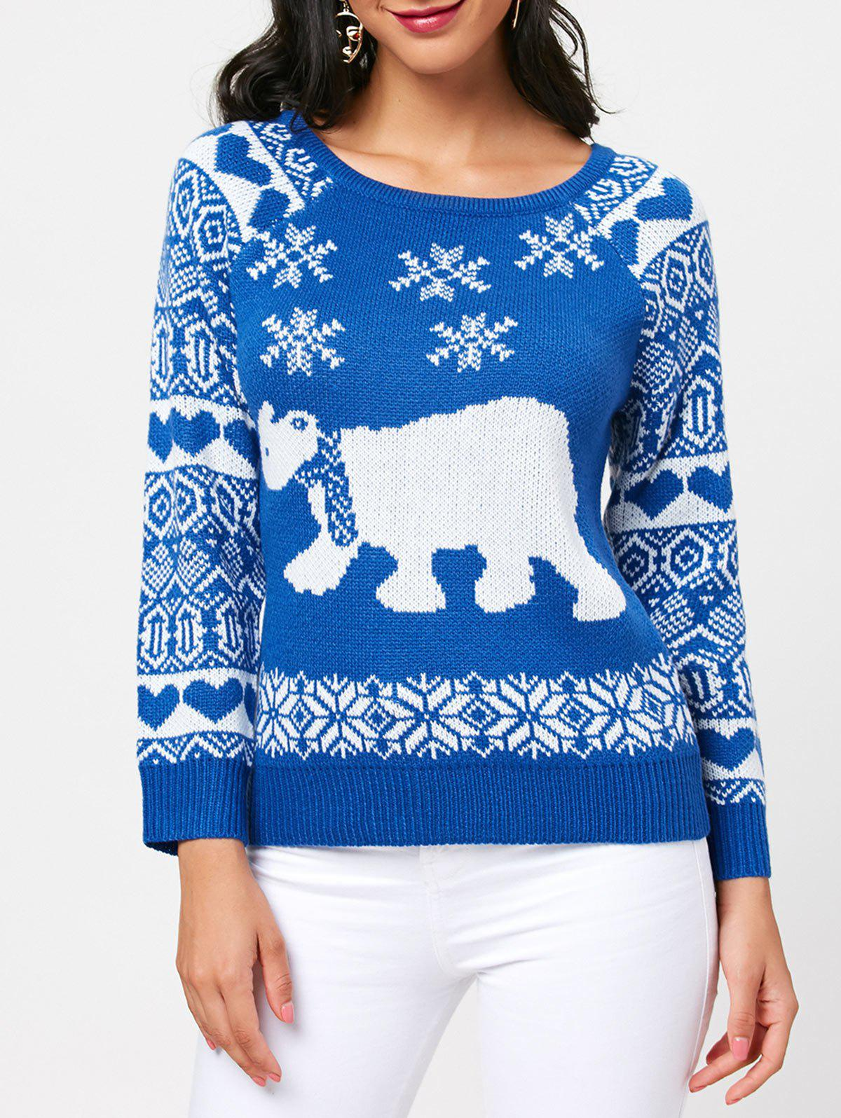 Raglan Sleeve Pullover Sea Bear Sweater - BLUE ONE SIZE