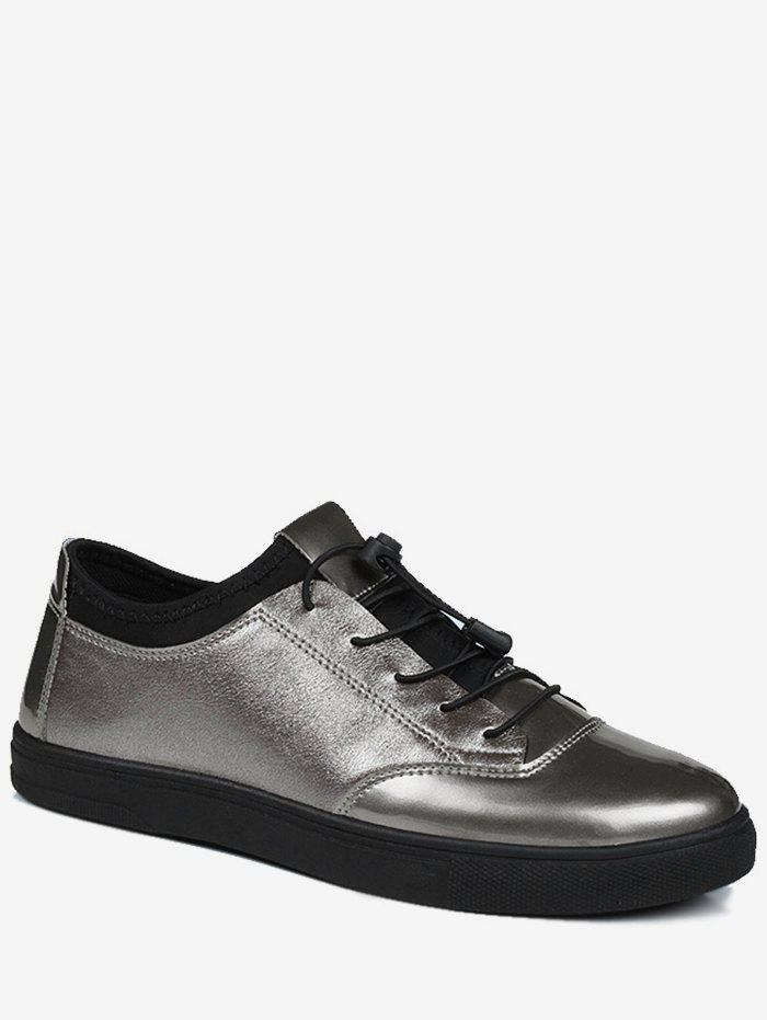 Tie Up Low Top Bright Color Casual Shoes - GUN METAL 41