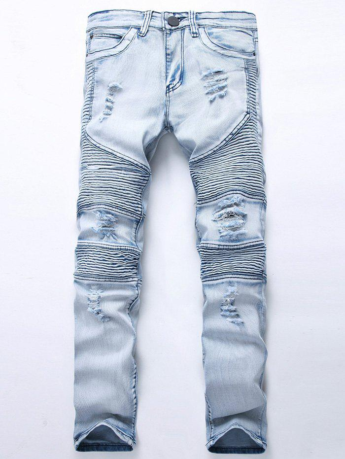 Straight Color Wash Ripped Biker Jeans mens jeans fashion slim elastic straight biker jeans men skinny casual ripped for men bermuda jeans masculina 29 42