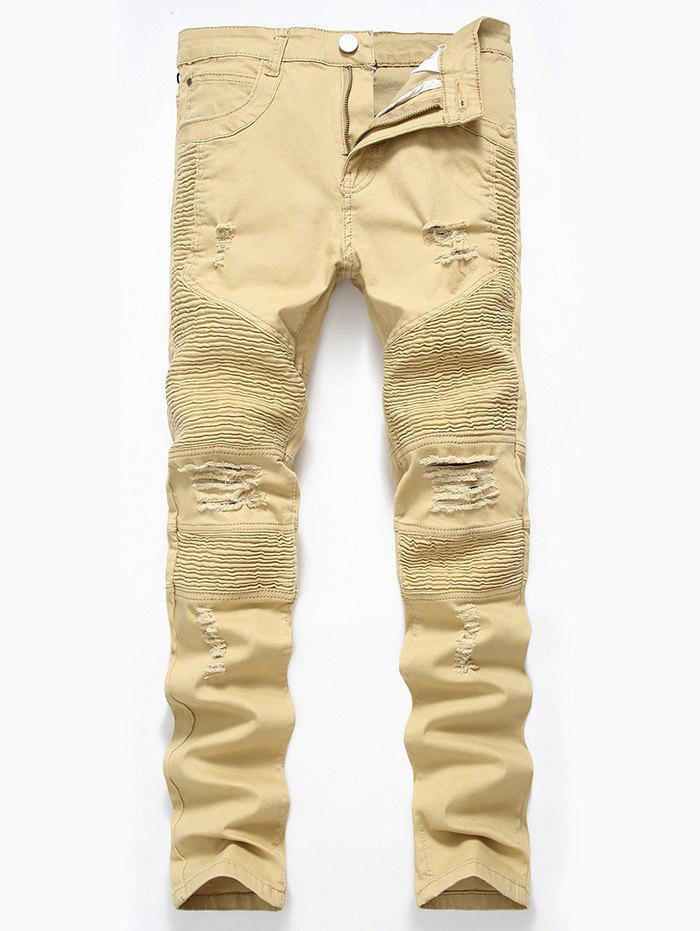 Straight Color Wash Ripped Biker Jeans - DARK KHAKI 32