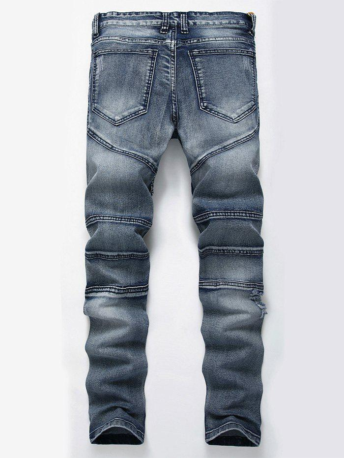 Straight Color Wash Ripped Biker Jeans - BLUE 32