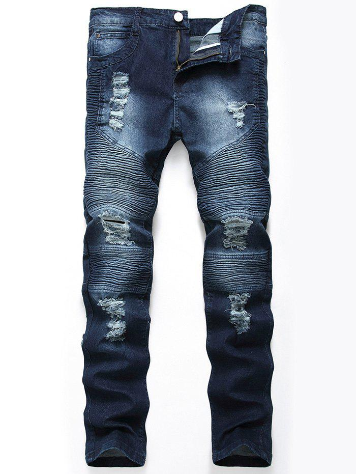 Straight Color Wash Ripped Biker Jeans - CERULEAN 36