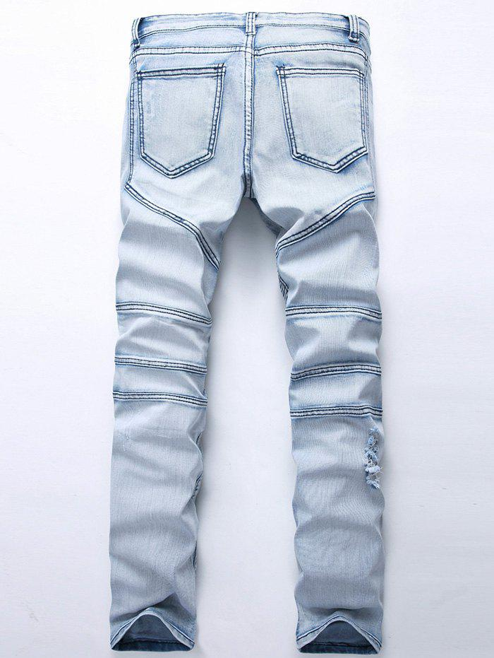 Straight Color Wash Ripped Biker Jeans - LIGHT BLUE 32
