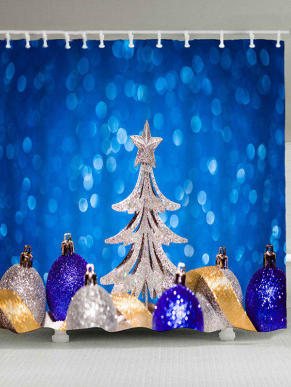 Christmas Balls Tree Waterproof Bath Curtain - BLUE W71 INCH * L71 INCH