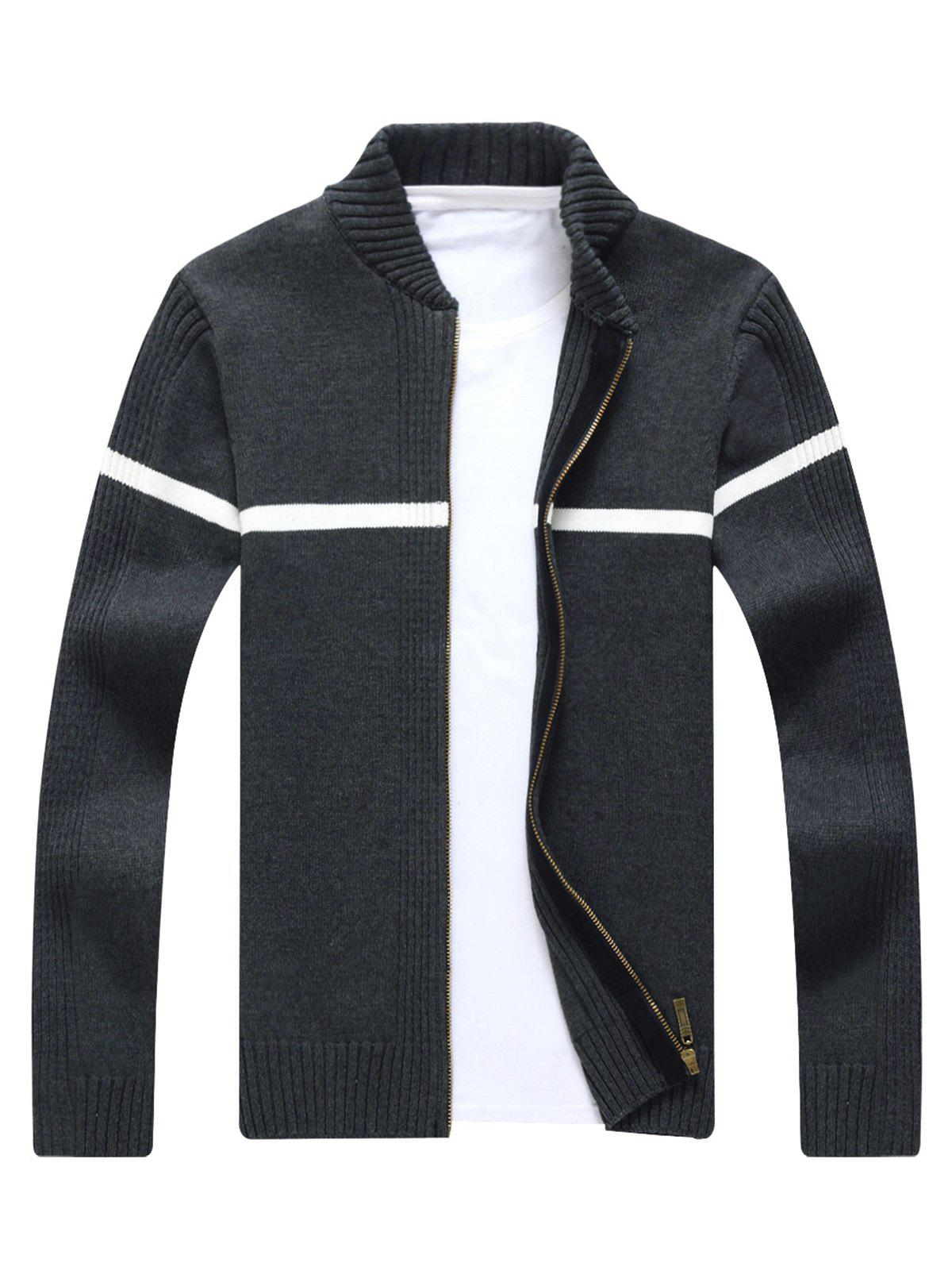 Ribbed Single Stripe Zip Up Cardigan - GRAY XL