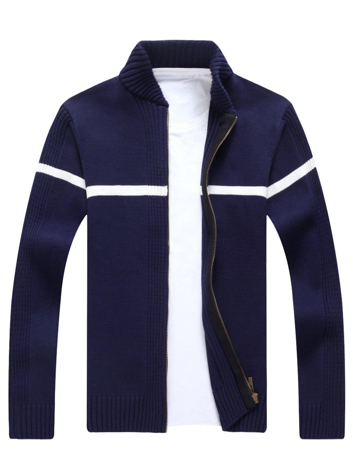 Ribbed Single Stripe Zip Up Cardigan - CADETBLUE XL
