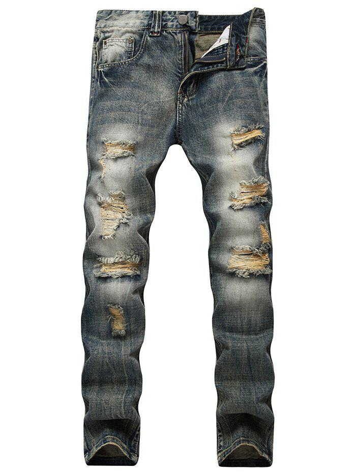 Faded Wash Straight Leg Ripped Jeans - Bleu 40