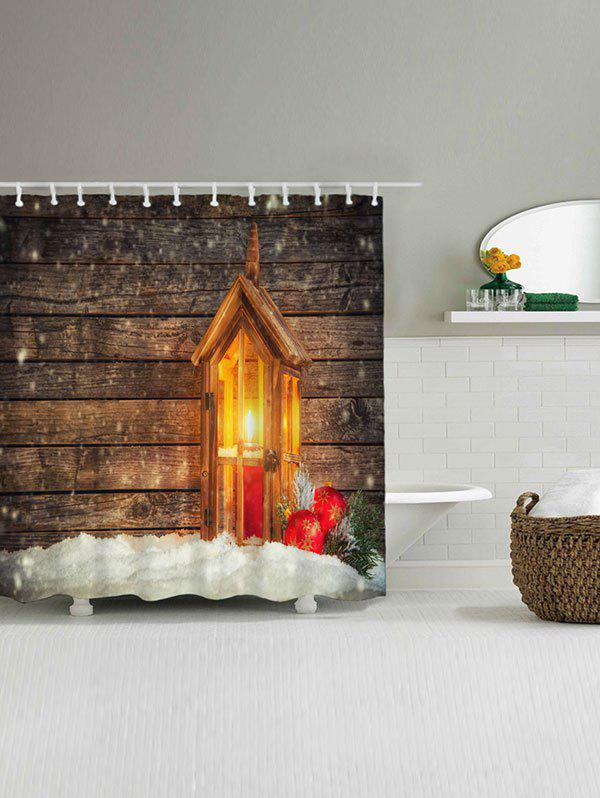 Christmas Candle Wood Waterproof Bath Curtain - WOOD COLOR W71 INCH * L79 INCH