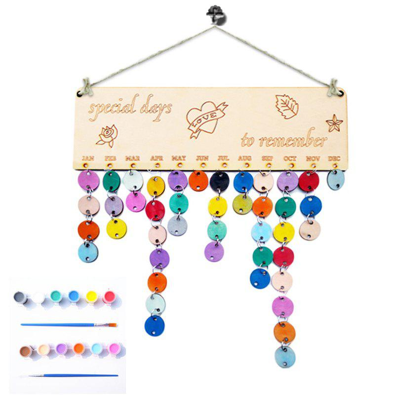 DIY Colorful Wooden Special Days Birthday Calendar - ROUND