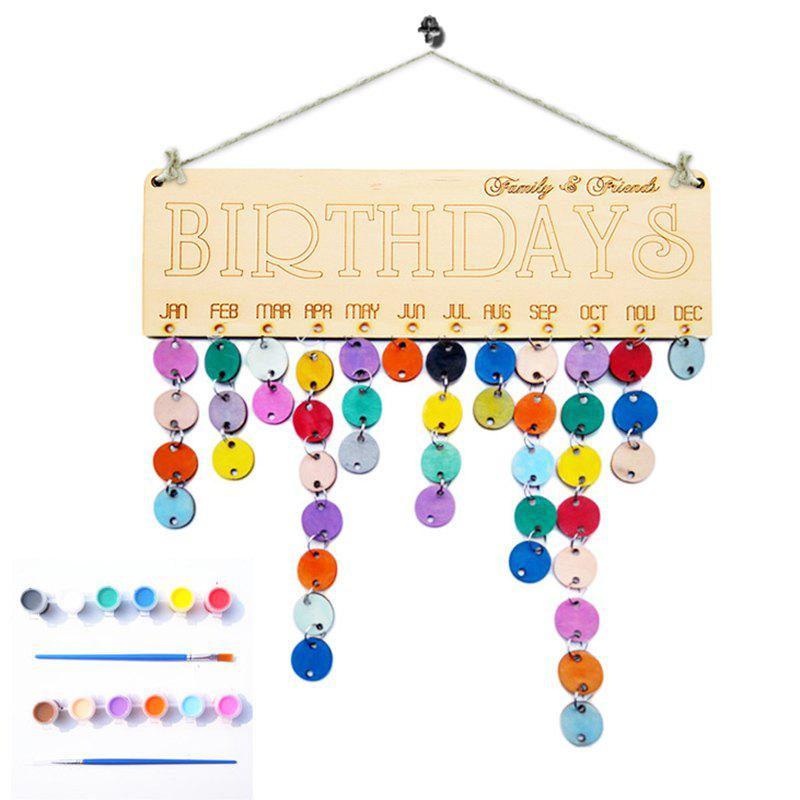 DIY Colorful Wooden Family And Friends Birthdays Calendar - ROUND