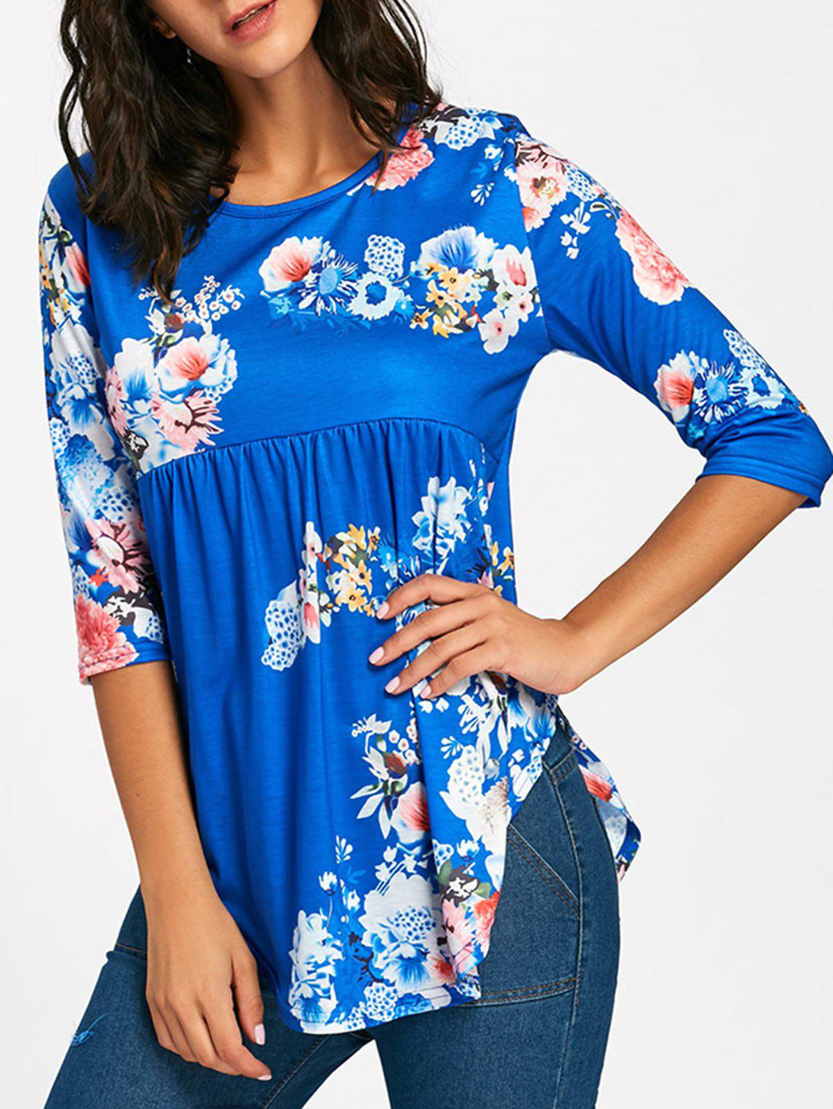 Floral Print Empire Waisted Swing T-shirt - BLUE L