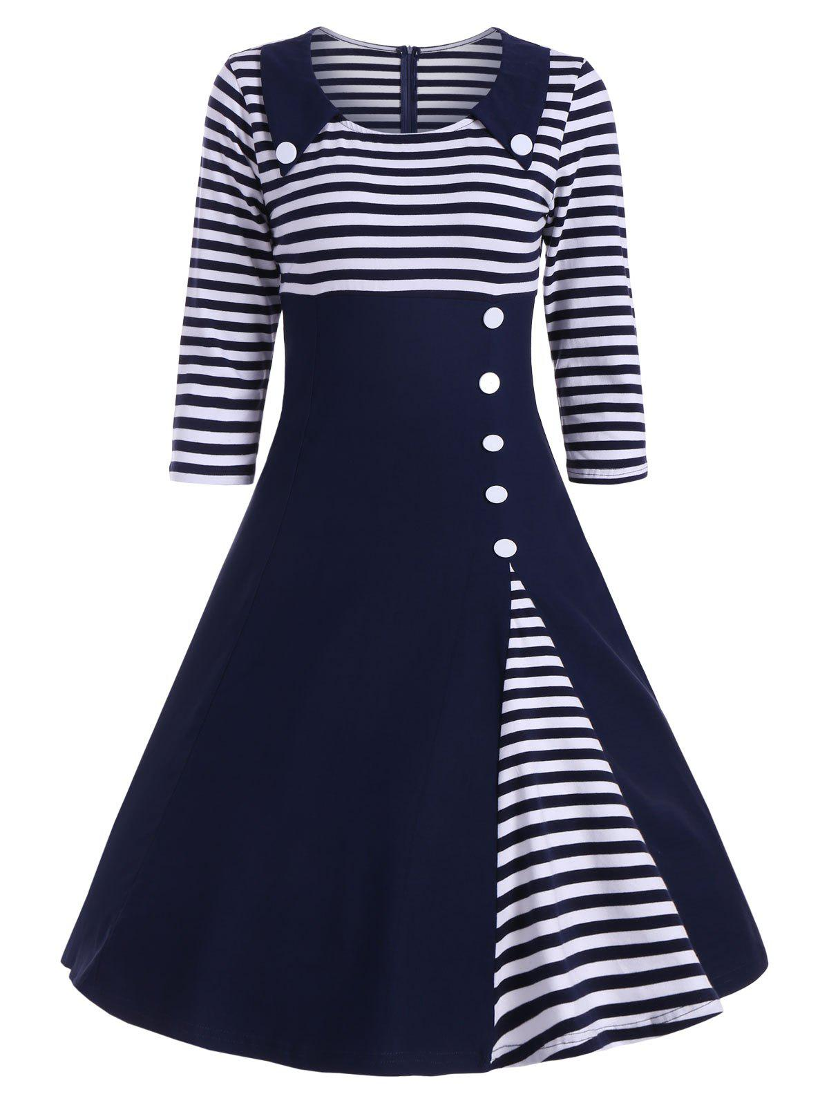 Striped Button Embellished Vintage A Line Dress - DEEP BLUE L