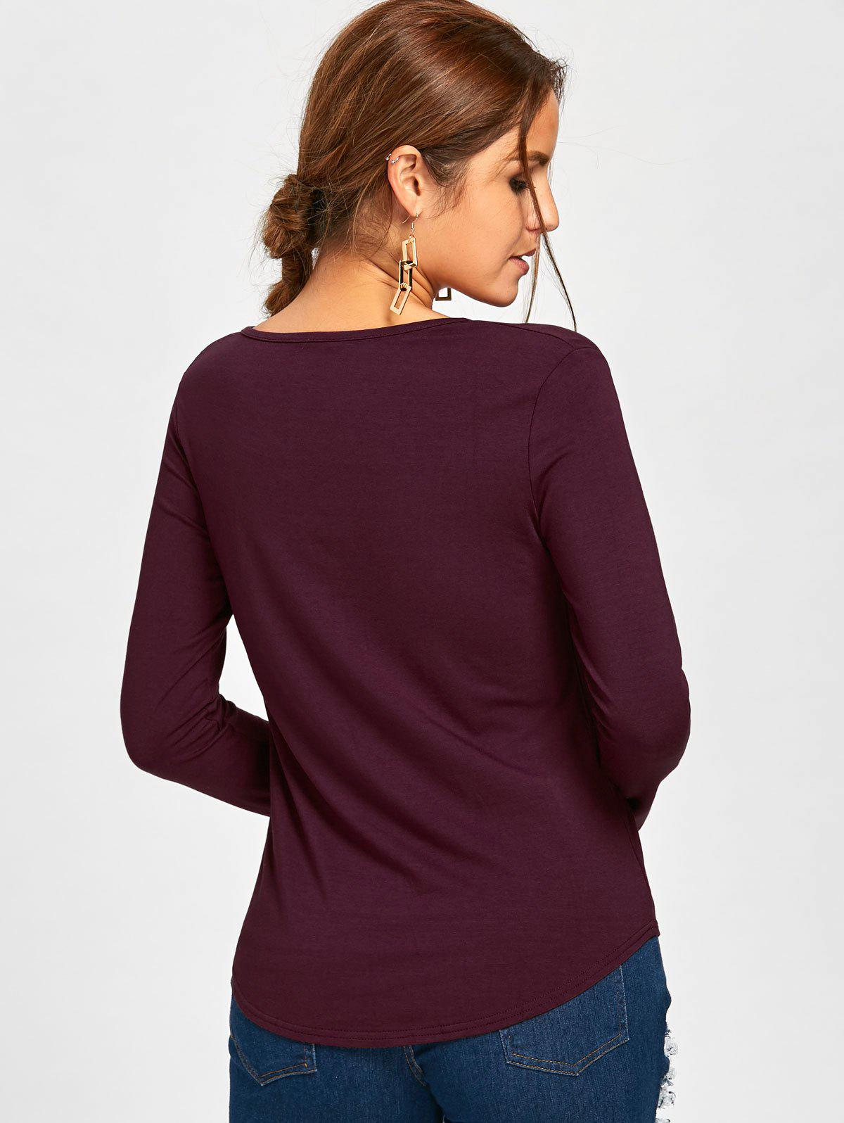 Plunge Lace Up Long Sleeve Tee - WINE RED XL