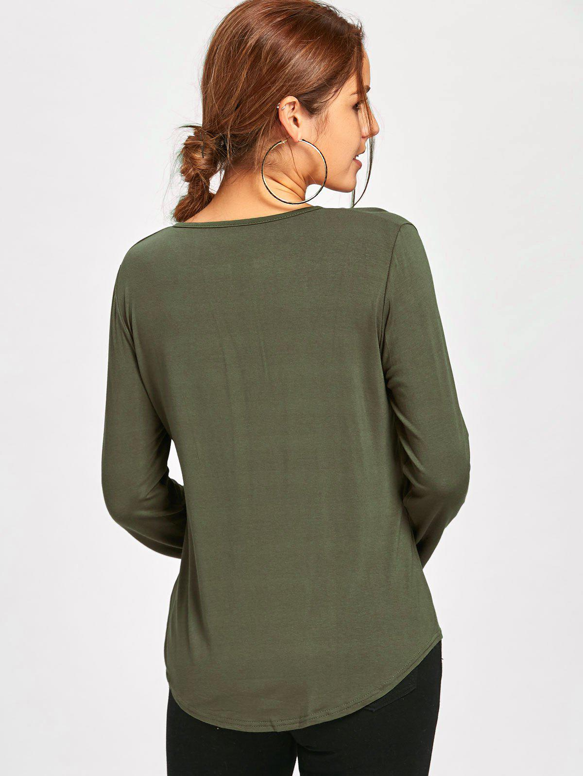 Plunge Lace Up Long Sleeve Tee - ARMY GREEN M