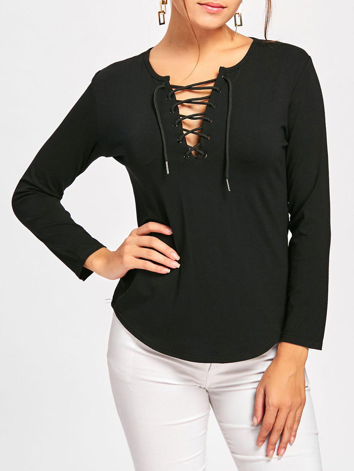 Plunge Lace Up Long Sleeve Tee - BLACK L