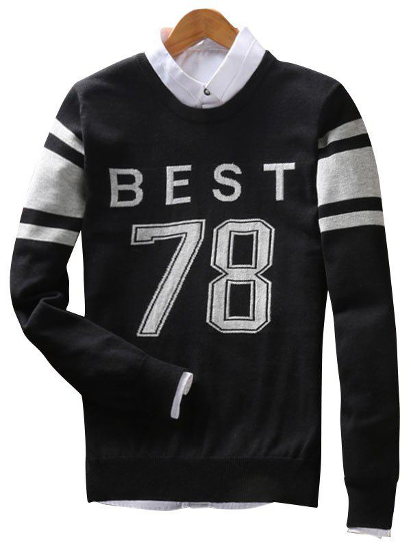 Crew Neck Stripe Best 78 Pattern Sweater - BLACK 3XL