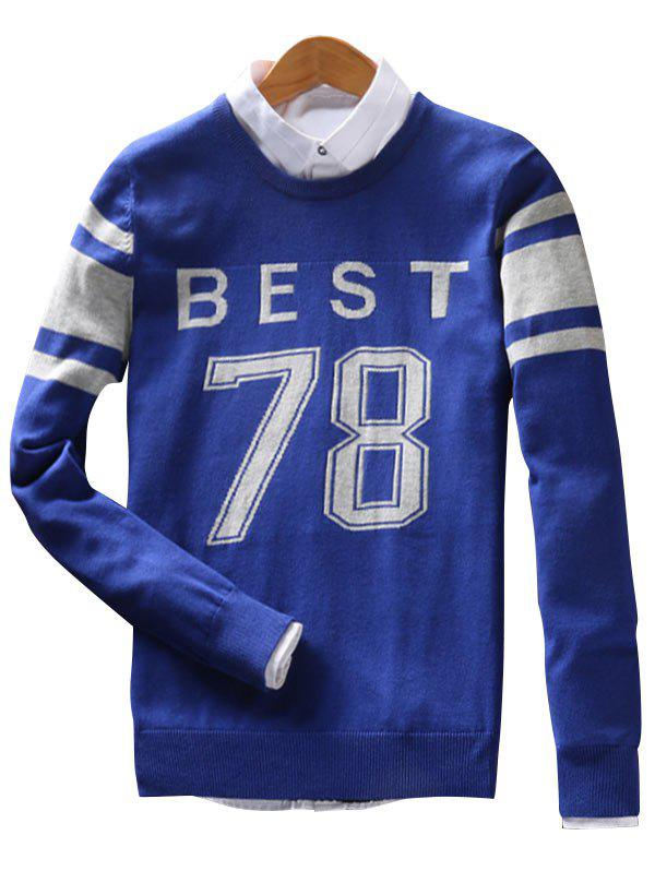 Crew Neck Stripe Best 78 Pattern Sweater - BLUE XL