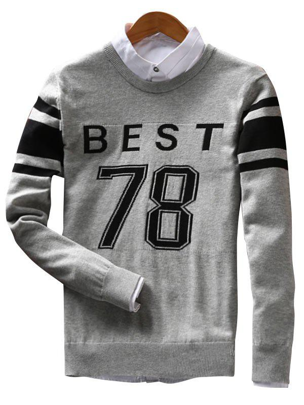 Crew Neck Stripe Best 78 Pattern Sweater - GRAY XL