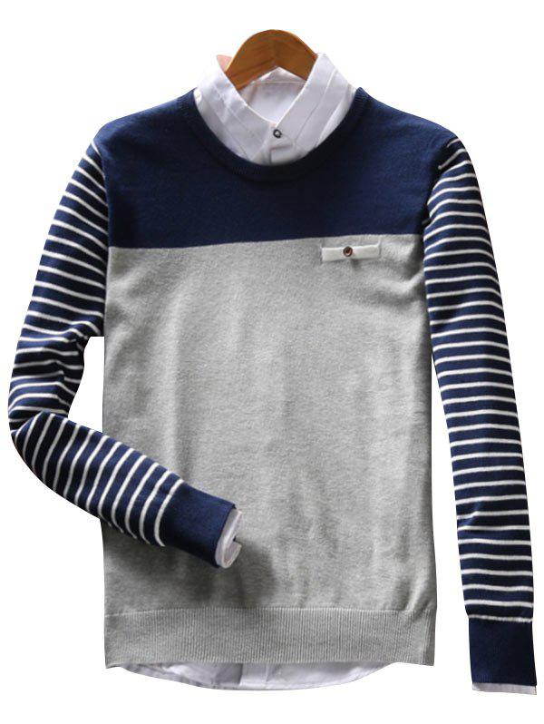 Color Block Faux Pocket Stripe Sweater - GRAY XL