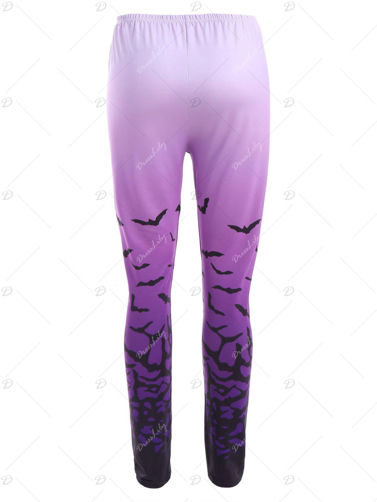 Ombre Bat Print Halloween Leggings - PURPLE S