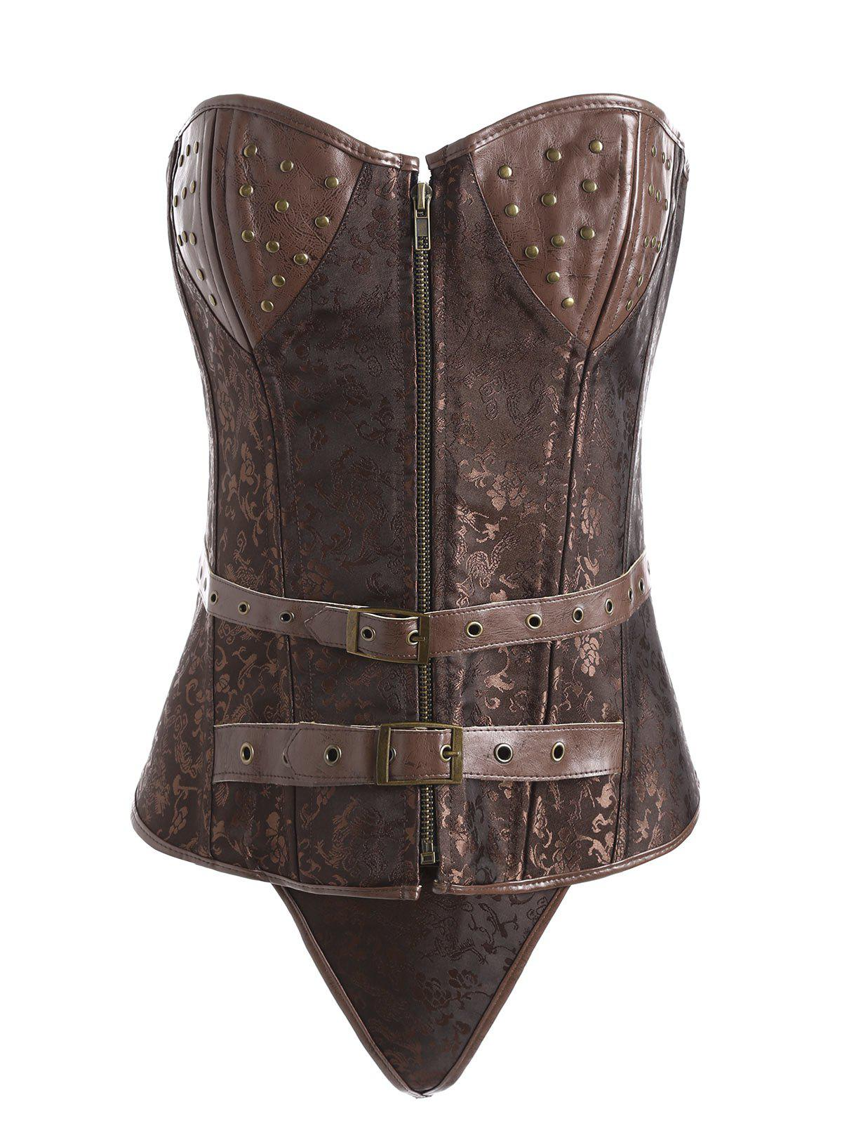 Plus Size Vintage Jacquard Zipper Corset - COFFEE 3XL