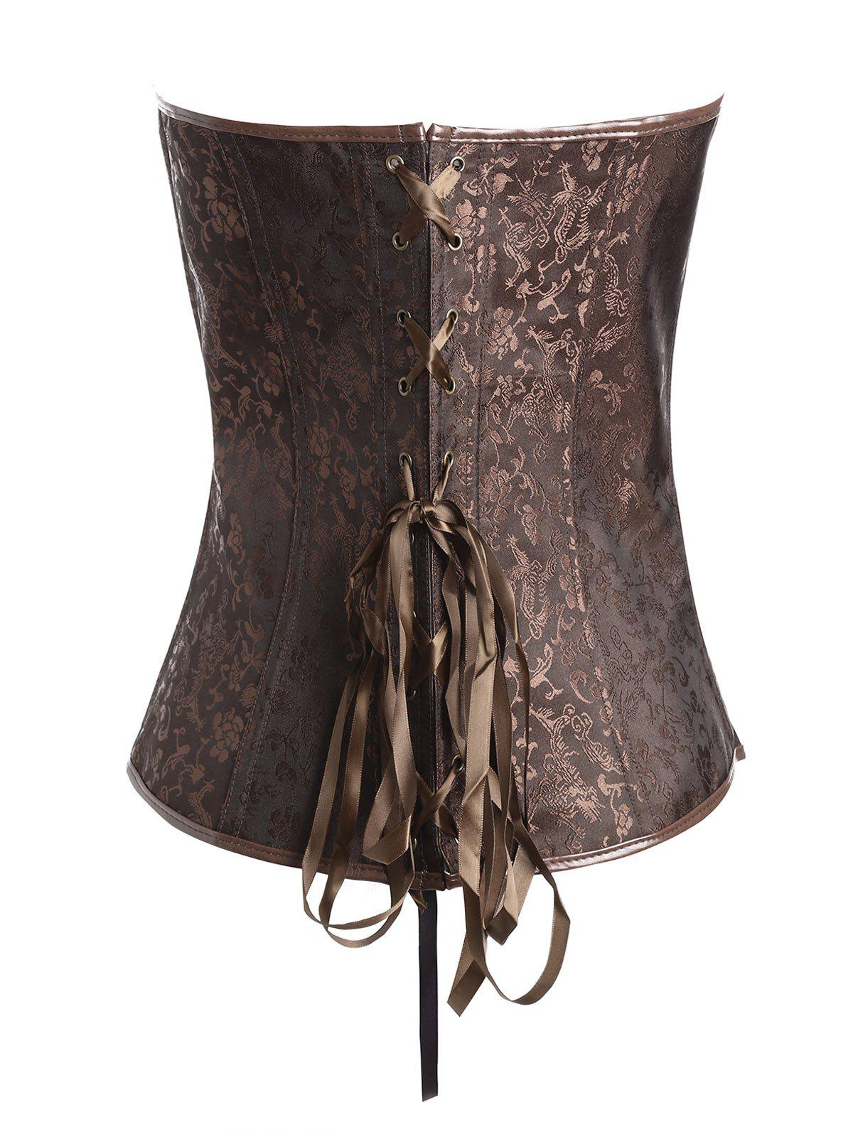 Plus Size Vintage Jacquard Zipper Corset - COFFEE 4XL