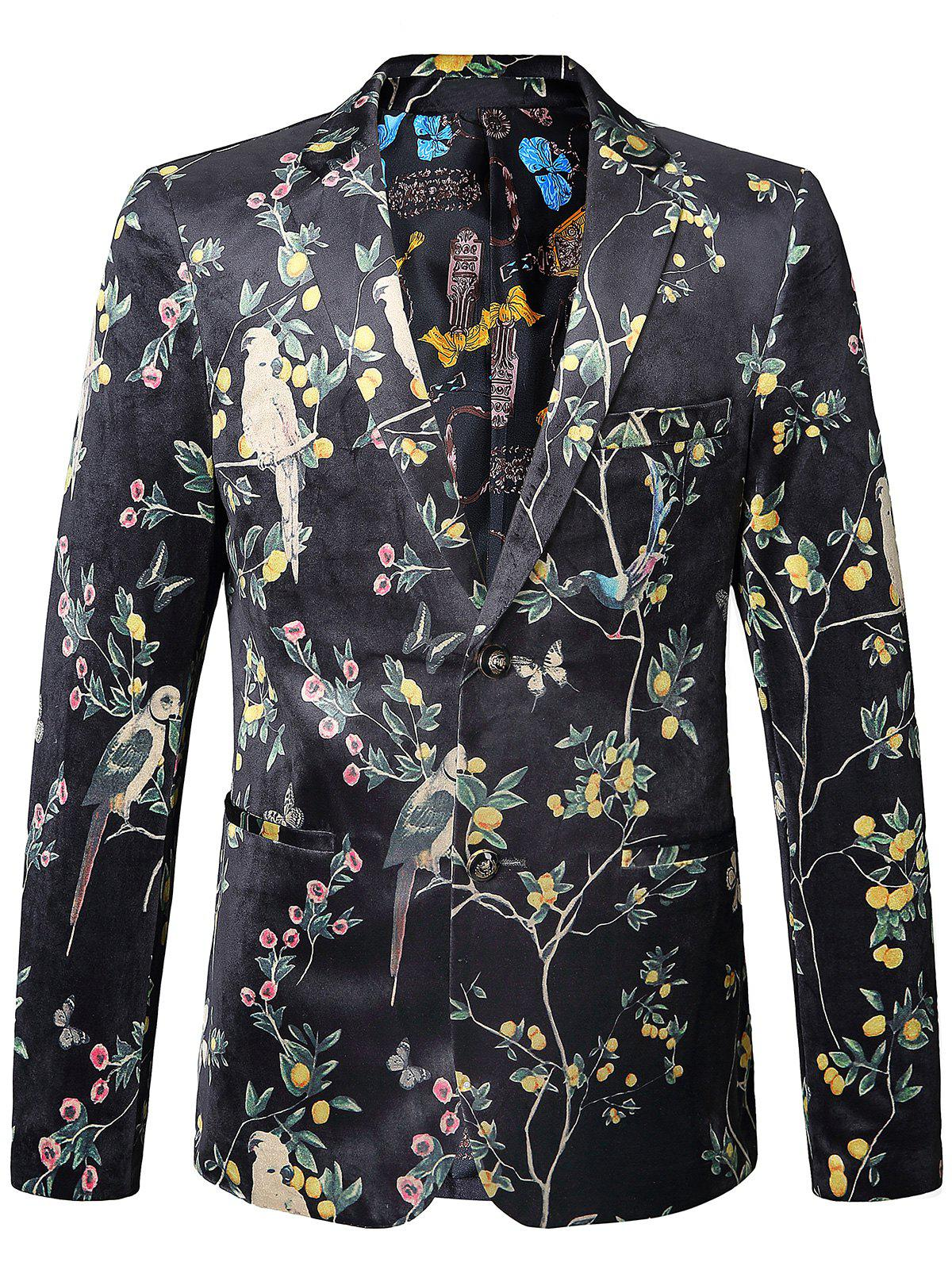 Floral Birds in the Trees Print Velvet Blazer - COLORMIX 56