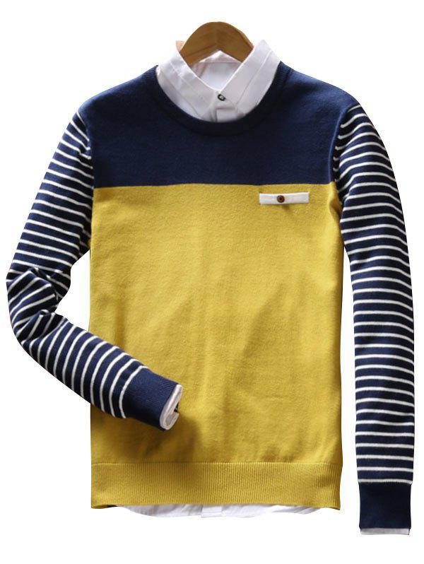 Color Block Faux Pocket Stripe Sweater - YELLOW 3XL