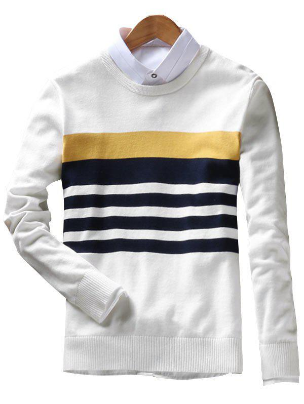 Crew Neck Stripes Pullover Sweater - OFF WHITE XL