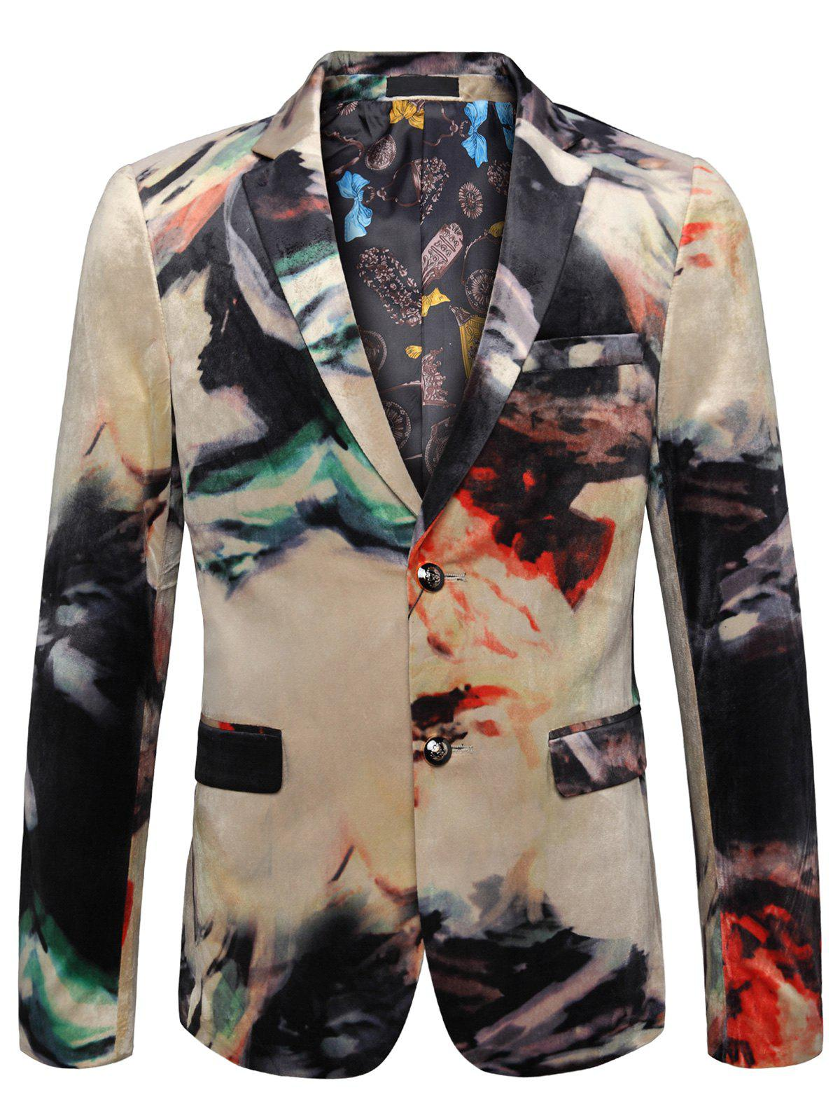 Single Breasted Tie Dye Casual Velvet Blazer - COLORMIX 54