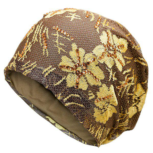 Lace Sequins Embellished Floral Embroidery Pattern Beanie - GOLDEN