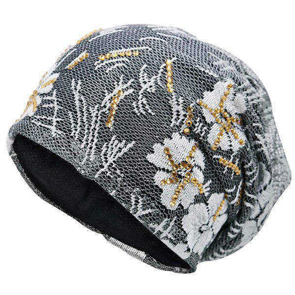 Lace Sequins Embellished Floral Embroidery Pattern Beanie - GRAY