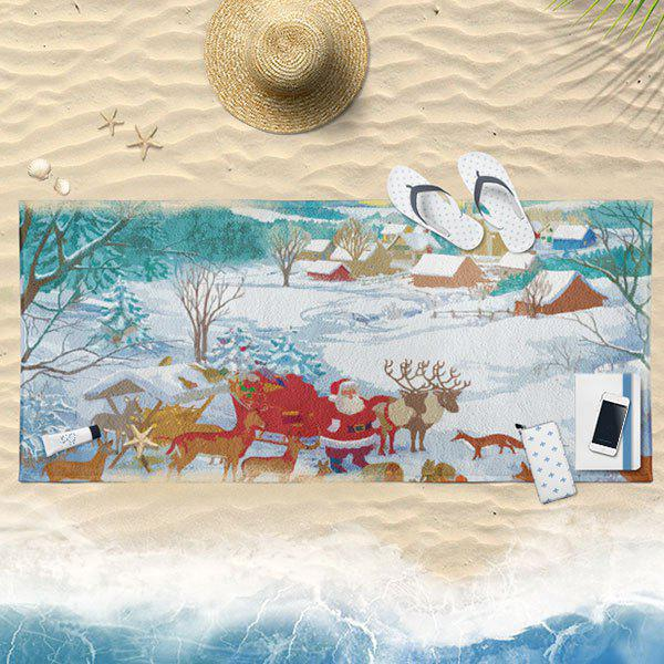 Santa Claus Printed Christmas Bath Towel - WHITE 75*150CM