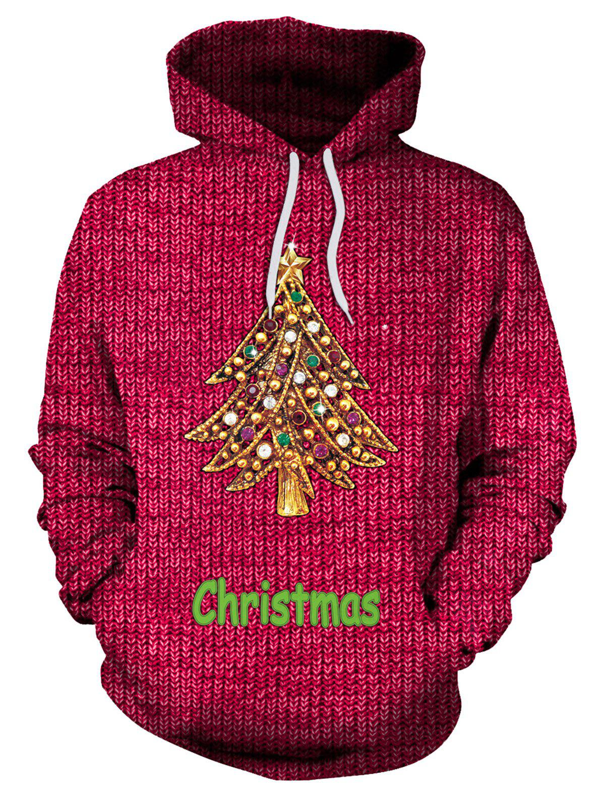 Kangaroo Pocket Rhinestone Christmas Tree Hoodie - Rouge M