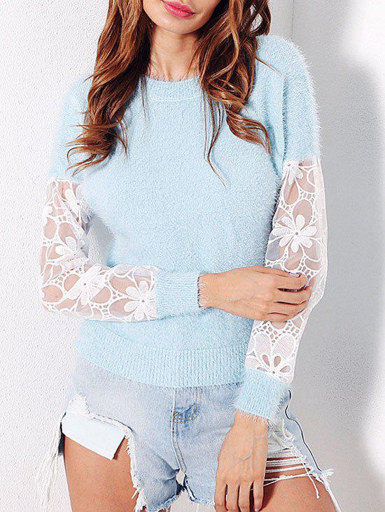 Mesh Insert Fuzzy Sweater - LIGHT BLUE ONE SIZE