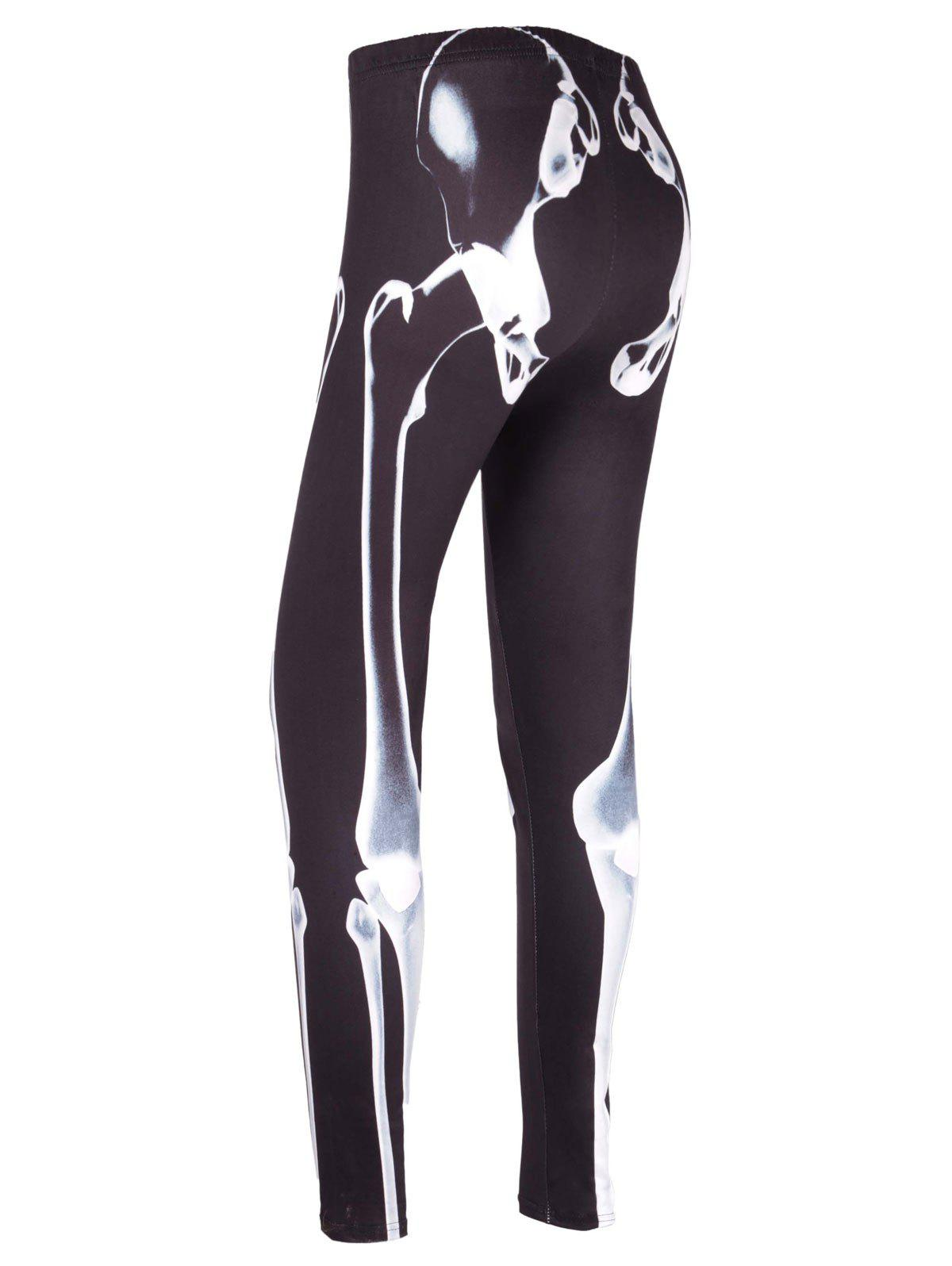 High Waist Skeleton Print Halloween Leggings - BLACK M