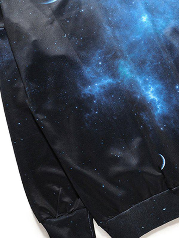 Starry Sky Universe Print One Shoulder Sweatshirt - BLACK/BLUE M